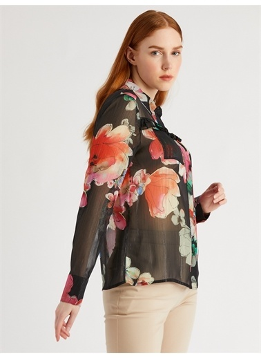 Vekem-Limited Edition Fırfır Detaylı Çiçek Desenli Gömlek Siyah